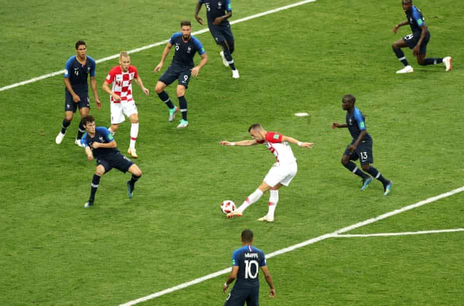 Croatia's Ivan Perisic scores his side's first goal.