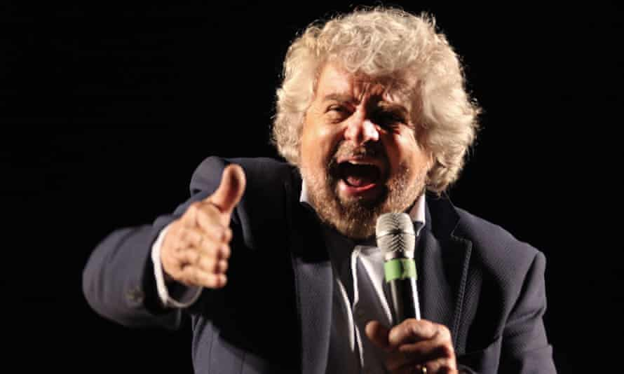 Beppe Grillo, leader of the Five Star Movement, at a rally in support of the no campaign in Rome.