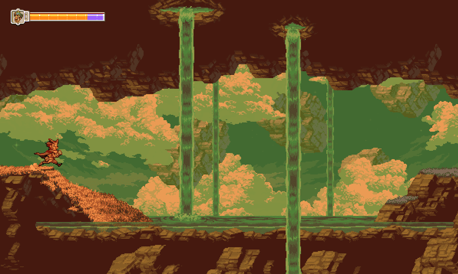 The game uses traditional effects such as parallax scrolling to add depth to the environments