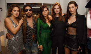 Jesse Jo Stark, Lenny Kravitz, Laurie Lynn Star, Cat McNeil and Bella Hadid at a party in Miami this week.