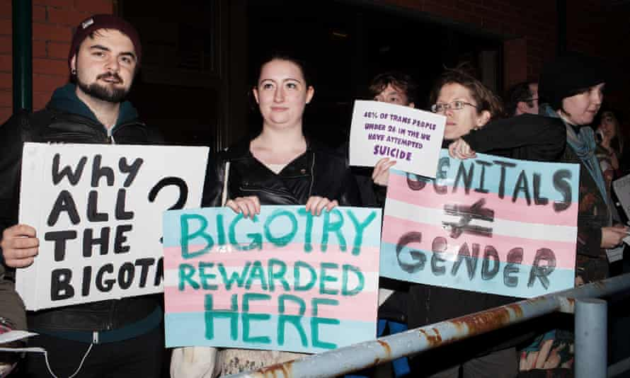 Students at Cardiff university prote against a planned lecture by Germaine Greer in 2015.