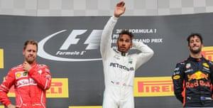 Hamilton celebrates.