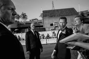 Tom Hiddleston and heavy security on the arrivals beat