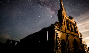 The Milky Way above Byland Abbey in the North York Moors national park.