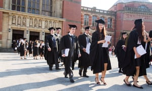Graduates leaving the Great Hall at Birmingham University.
