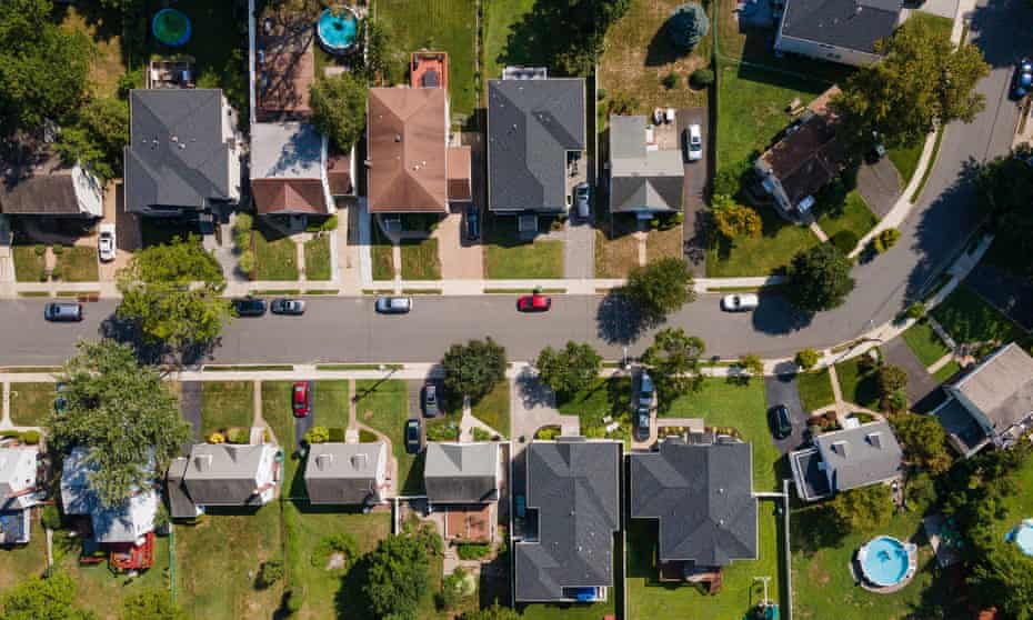 Ssuburban houses in Paramus, New Jersey. In the US, the energy used in buildings accounts for more than one-third of heat-trapping, and reducing those emissions is key to the nation's climate progress.