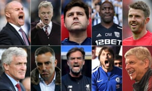 Clockwise, from the left: Sean Dyche, David Moyes, Mauricio Pochettino, Darren Moore, Michael Carrick, Arsène Wenger, Antonio Conte, Jürgen Klopp, Carlos Carvalhal and Mark Hughes