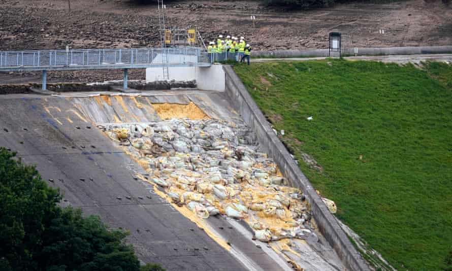 The Whaley Bridge dam was damaged during heavy rainfall in August.