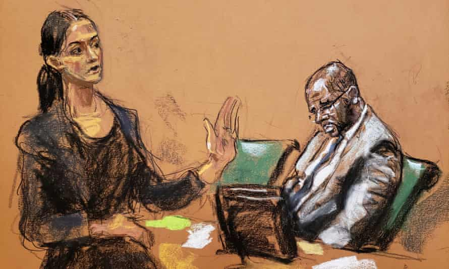 Nicole Blank Becker speaks as R Kelly listens during the start of his trial in New York on 18 August, as seen in a courtroom sketch.