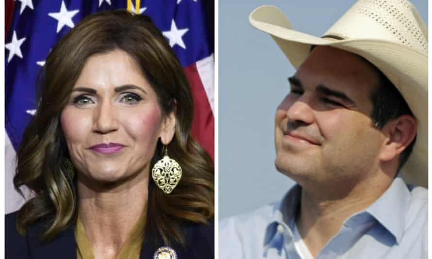 Billie Sutton (right) focused on restoring trust in South Dakota's government in race against Kristi Noem.