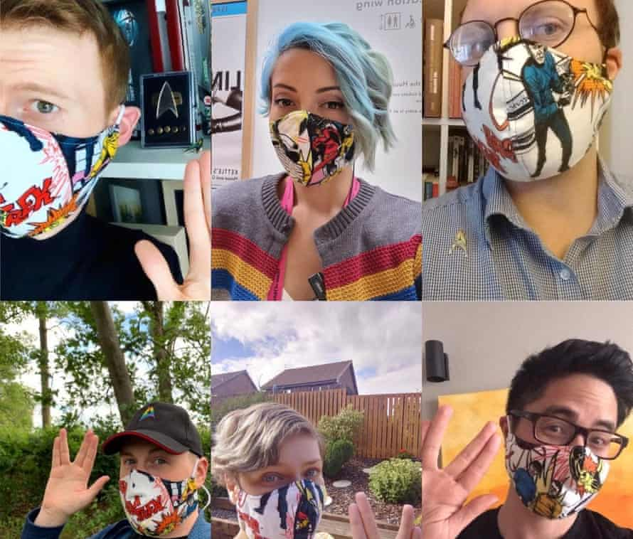 A photo collage of Christopher Ince, 34, top left, and his Star Trek gang in themed face masks.