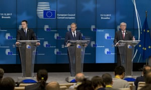 European Commission President Jean-Claude Juncker, right, European Council President Donald Tusk, centre, and Estonian Prime Minister Juri Ratas, left, participate in a media conference at an EU summit in Brussels