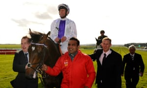 Kevin Manning after winning the Irish Derby on Trading Leather in 2013.