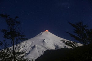Pucón, Chile: The Villarrica Volcano at night