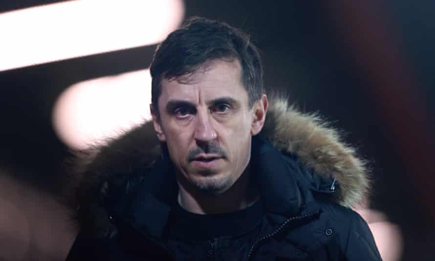Gary Neville at a League Two match between Salford City and Colchester United in March.
