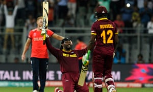 Gayle celebrates his century during the World Twenty20 pool game against England in March. West Indies would go on to beat England again in the final.