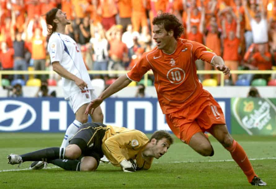 Ruud van Nistelrooy celebrates after scoring the Netherlands' second goal.