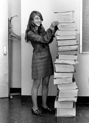 margaret hamilton in 1969 with the source code her team developed for the apollo missions