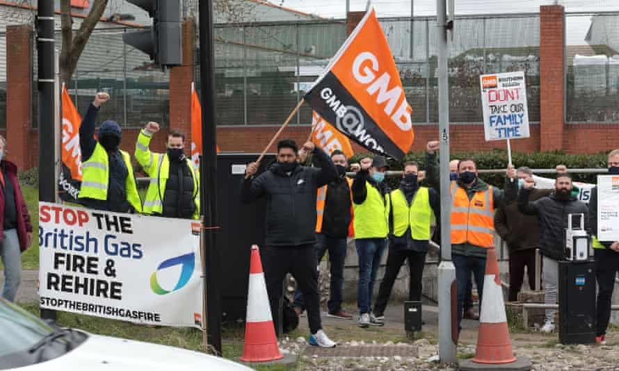 Workers strike over plans for British Gas to 'fire and hire' them.