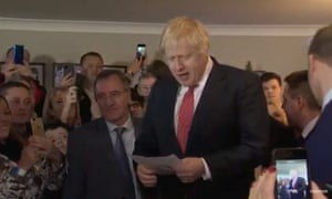 Boris Johnson speaking in Sedgefield, in the north-east of England.