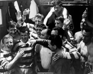 Celtic players celebrate winning the League Championship in May 1966