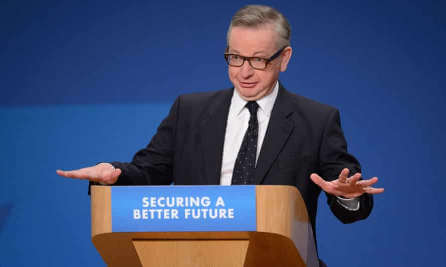 Michael Gove addressing the annual Conservative party conference in Birmingham.