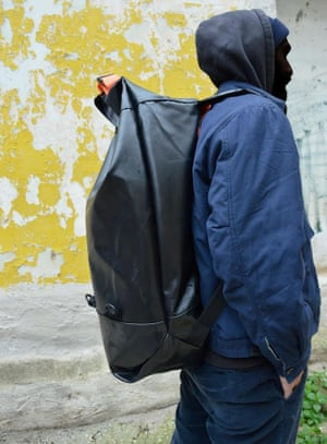A model wears the NoBorders backpack created from abandoned dinghies on Lesbos.