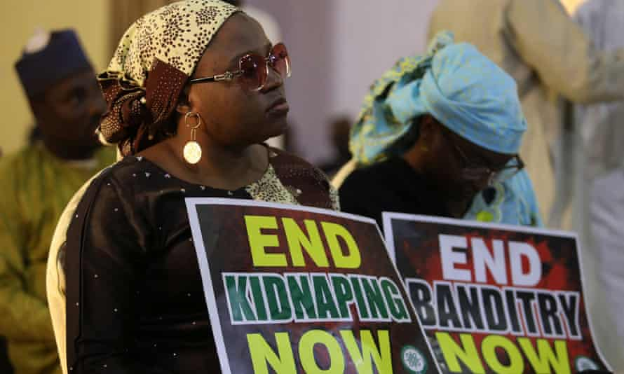 A protest against the kidnapping of schoolchildren in the north-western state of Katsina in December.