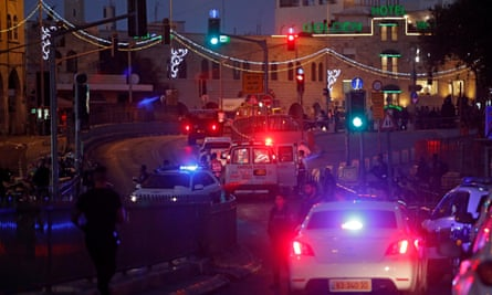 Ambulance and police at the scene of an attack near Damascus gate in the Old City of Jerusalem.