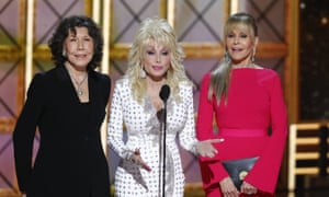 'If I've got something to say, I'll say it …' With Lily Tomlin and Jane Fonda at the 2017 Emmys.