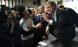 Nigel Farage speaking to the media at a Brexit party campaign event near Pontefract.