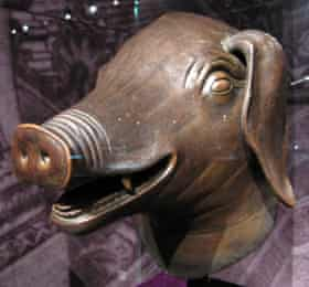 A bronze pig's head that once adorned a water clock fountain in the Summer Palace