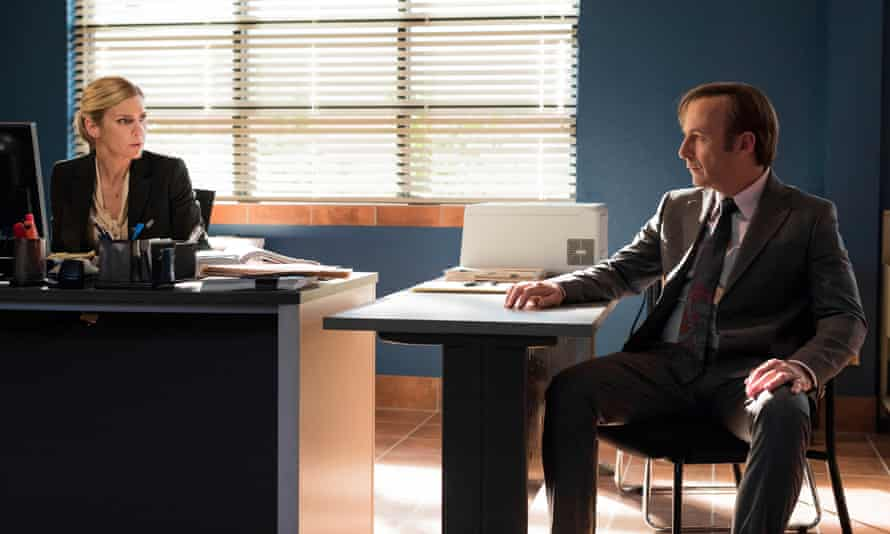 Straight and narrow … Bob Odenkirk as Jimmy McGill, Rhea Seehorn as Kim Wexler