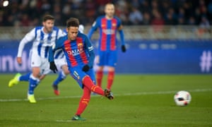 Neymar scored his second goal in two matches to give Barcelona a first away  win over Real Sociedad since 2007. Photograph  Vincent West Reuters ebc26091b6e84