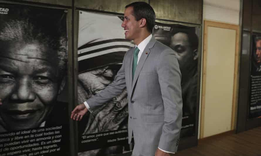 Juan Guaidó, Venezuela's opposition leader, at the Popular Will party's headquarters, in Caracas on Friday.