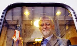 Jeremy Corbyn on a Virgin train