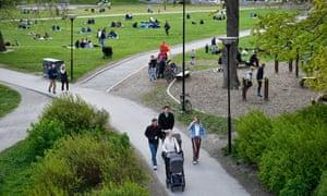 Swedes enjoy a walk day in Ralambshovsparken park, Stockholm, Sweden
