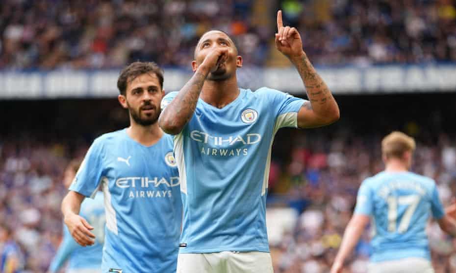 Gabriel Jesus celebrates after putting Manchester City ahead against Chelsea.