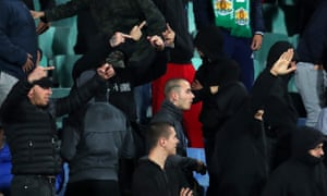 Bulgaria v England - UEFA Euro 2020 Qualifier<br>SOFIA, BULGARIA - OCTOBER 14: Bulgarian fans gesture during the UEFA Euro 2020 qualifier between Bulgaria and England on October 14, 2019 in Sofia, Bulgaria. (Photo by Catherine Ivill/Getty Images)