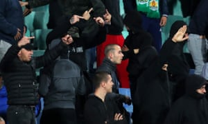 Bulgarian fans gesture during the UEFA Euro 2020 qualifier between Bulgaria and England.