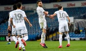 Stuart Dallas celebrates scoring the equaliser for Leeds against Luton