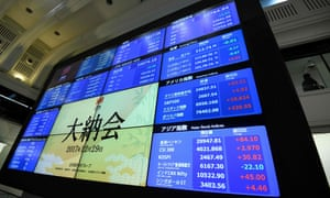 an electronic board shows Japan's Nikkei 225 index