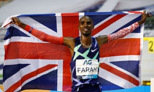 Mo Farah celebrates after breaking Haile Gebrselassie's one-hour world record.