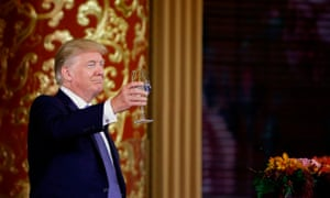 US president Donald Trump attends a state dinner hosted by China's President Xi Jinping in the Great Hall of the People in Beijing.