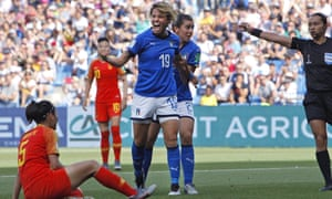 Italy's Valentina Giacinti (No 19) celebrates after scoring her side's first goal against China.