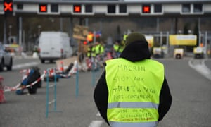 Protesters at a French motorway toll.