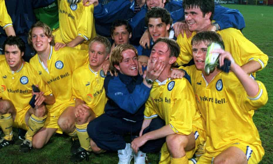 Nicky Byrne celebrates with the Leeds team after their FA Youth Cup final win over Crystal Palace in 1997.