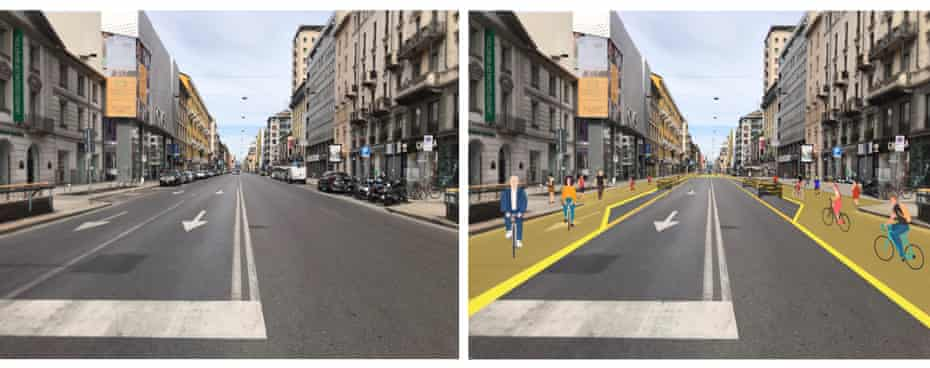 Plans for Corso Buenos Aires before and after the Strade Aperte project.