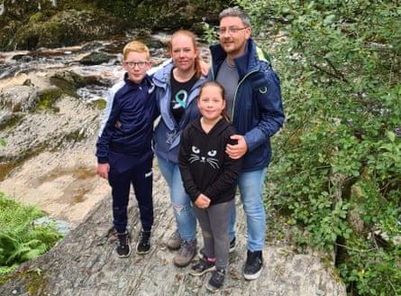 Cath and her family at Ingleton waterfalls in August