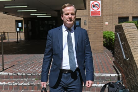 Charlie Elphicke leaves Southwark crown court after the verdict. He had denied three counts of sexual assault.